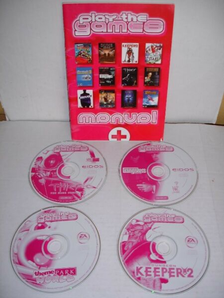 Four Vintage  PC CD Games Thief, Gangsters, Dungeon Keeper , Theme Park World from 1990's +Manual.