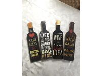 Set Of 4 Wooden Wall Plaques (NEW)
