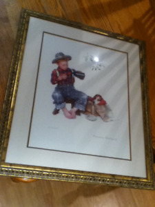 Norman Rockwell Framed Lithograph Puppy Love A Boy and His Dog