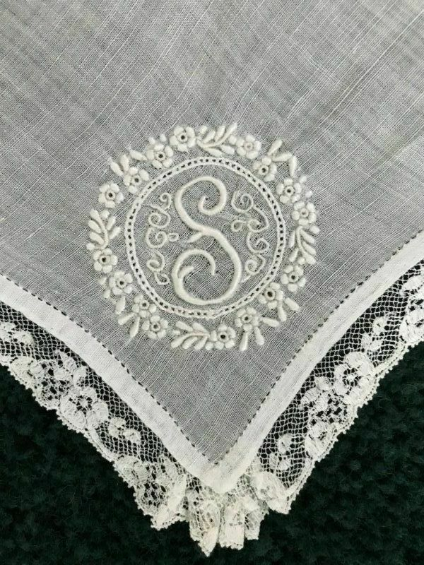 Breathtaking ANTIQUE BRIDAL Monogram S Embroidered LACE Wedding HANKY