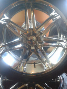 "(4) 22"" Chevy Chrome Boss rims with tires London Ontario image 2"