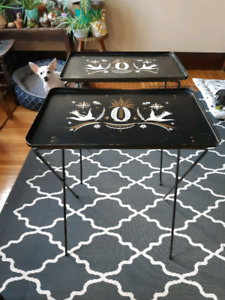 2  Vintage Folding Tables with Pineapple Graphic