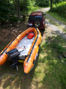 14 ft inflatable 25 hp evinrude and aluminium trailer