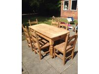Solid wood farmhouse table and 6 chairs