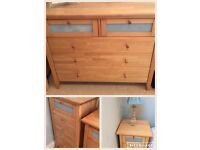 Chest of drawers x 2 ( 1x wide + 1 tall) plus 2 bedside tables. Ring me please, 07956 846259
