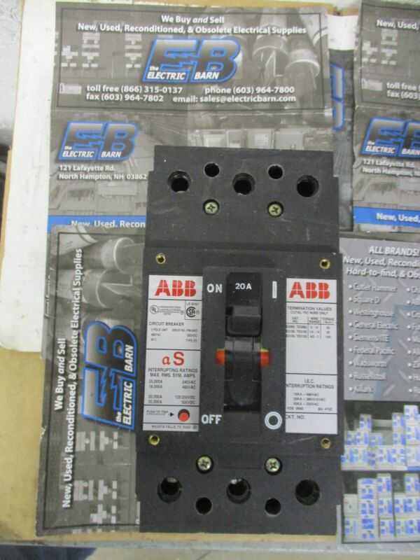 ABB Type ES 3 Pole 20 Amp 480 Volt Circuit Breaker- Warranty