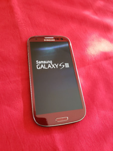 RED Samsung Series lll  Cell Phone W/2 Hardshell Cases,Mint Cond