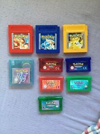 Classic Pokemon games for sale GB, GBC and GBA