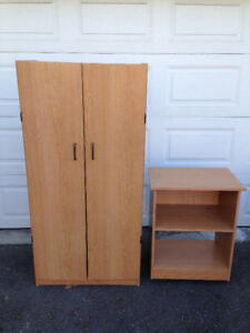Beige Wooden Cabinet With Doors + Side Unit
