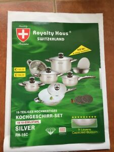 16 PC's Cookware Set SWITZERLAND 9 layers bottom High Quality