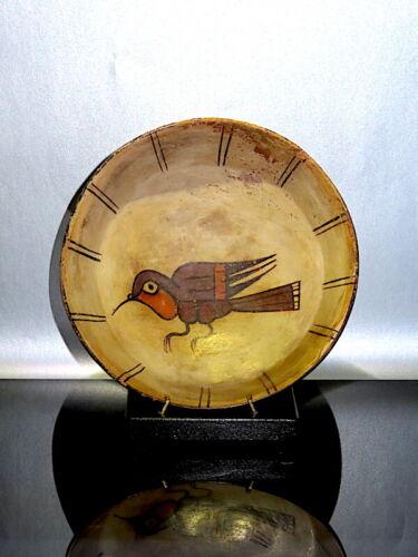 pre columbian hummingbird figure ceramic wTL testDocReport! Nazca offering dish!