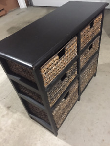 PIER ONE Solid Wood storage unit with 6 Baskets