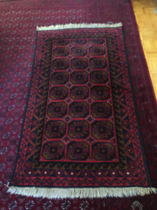 5` x 2.9` Bukhara afghan rug - 100% handmade of genuine  wool