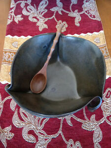 Handmade Pottery Bowl with Wooden Spoon