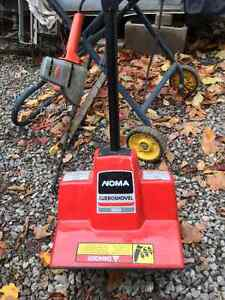 Electric hedge trimmer and noma snow shovel