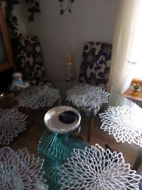 Purple chair dining set.