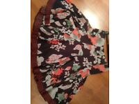 White Stuff fully lined black floral skirt