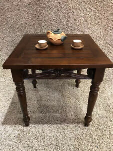 SOLID WOOD Cherry End Table With Carving