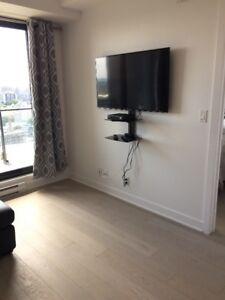 Glass TV receiver $40 and TV Wall mount $50 Purchased 2016