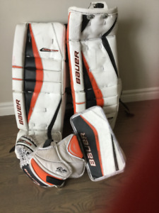 Goalie pads, mitt and blocker
