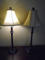 ♦ 2 Tall lamps with new beautiful shades. High 26 inches . ♦ 40