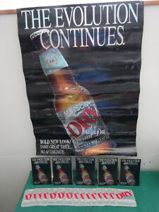Molson Dry Poster, coasters and small bar signs