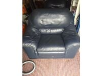 2 blue large leather chairs