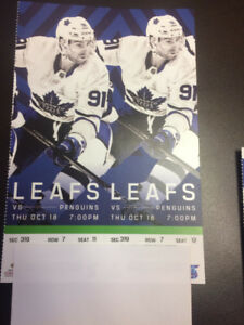 Toronto Maple Leafs vs Pittsburgh Penguins October 18th @7pm