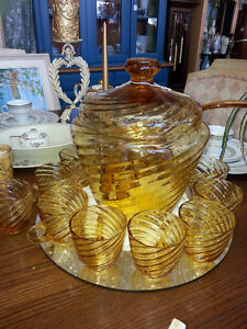 AMBER PUNCH BOWL SET