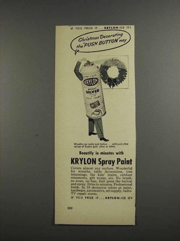 1957 Krylon Spray Paint Ad - Christmas Decorating