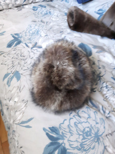 Raccoon fur coat with matching hat