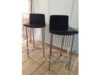 Stylish black wood/chrome bar stools
