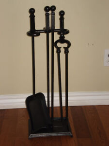 Three piece wrought Iron Fire Tool Set With Stand