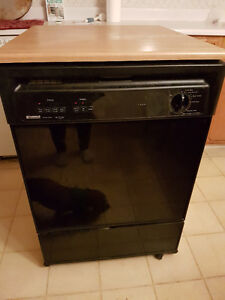 Full Size Portable Dishwasher With Laminate Wood Top