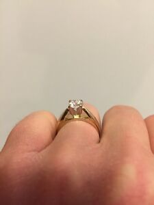 14 KT White and Yellow Gold Diamond Solitaire Ring