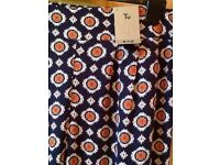 💙🍊 TU 14 navy blue and orange print loose fit summer trousers New
