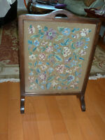 NEEDLE POINT FIREPLACE SCREEN