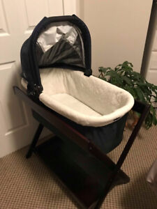 Uppa Baby Bassinet and Dark Wood Stand