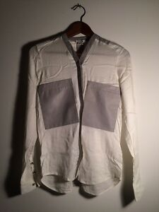 Helmut Lang White Blouse Grey Lamb Leather Pockets Collar Small