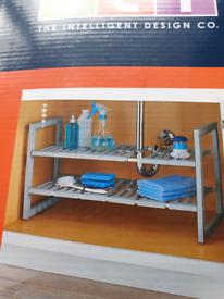2 tier under sink extendable shelf
