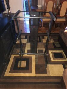 glass computer desk with  matching shelf stand