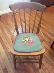 ANTIQUE CHAIR with HAND-EMBROIDERED SEAT
