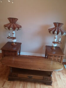 Antique ( 45 year old) maple coffee table with end tables.