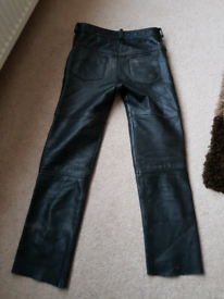 Mens Leather Motorcycle Trousers
