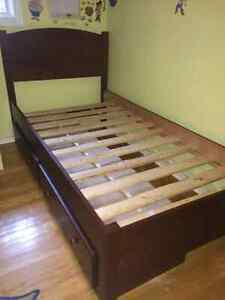 Solid wood captains bed, drawers