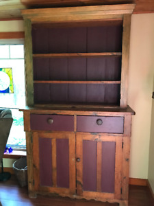 ANTIQUE SOLID PINE TWO-PIECE CUPBOARD