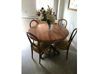 Antique Oak Extendable Dining Table and 4 Chairs