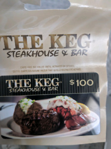 100.00 giftcard for The Keg
