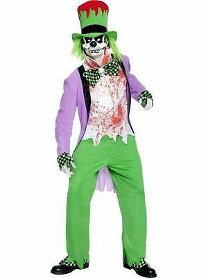 Men's Bad Mad Hatter Fancy Dress Costume Halloween Horror Zombie Clown Stag Fun  - Bad Clown Costume