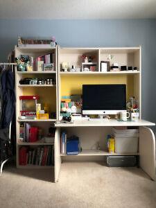 [PICK UP ONLY] White wooden desk + bookshelf